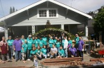 Volunteers in front of the Catholic Worker house, including Rotarians and Sierra High School Students