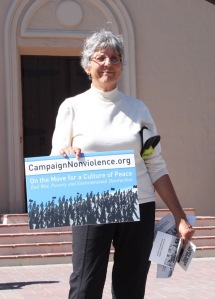 The vigil at Santa Clara University was part of the Campaign Nonviolence week of actions, to make the ideas and work of nonviolence visible and mainstream.